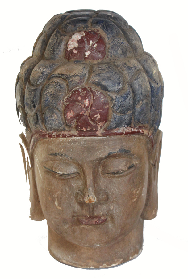 Handcarved & Painted Wood Buddha Statue Signed-
