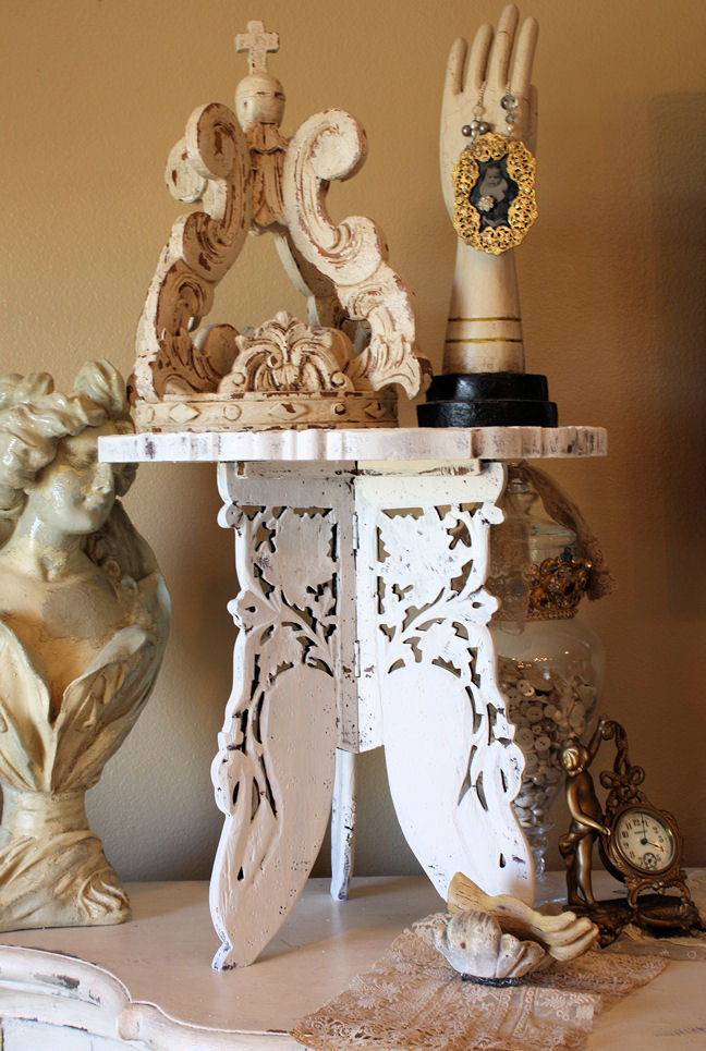 Gorgeous Vintage Carved Wood Side Tables Chippy White