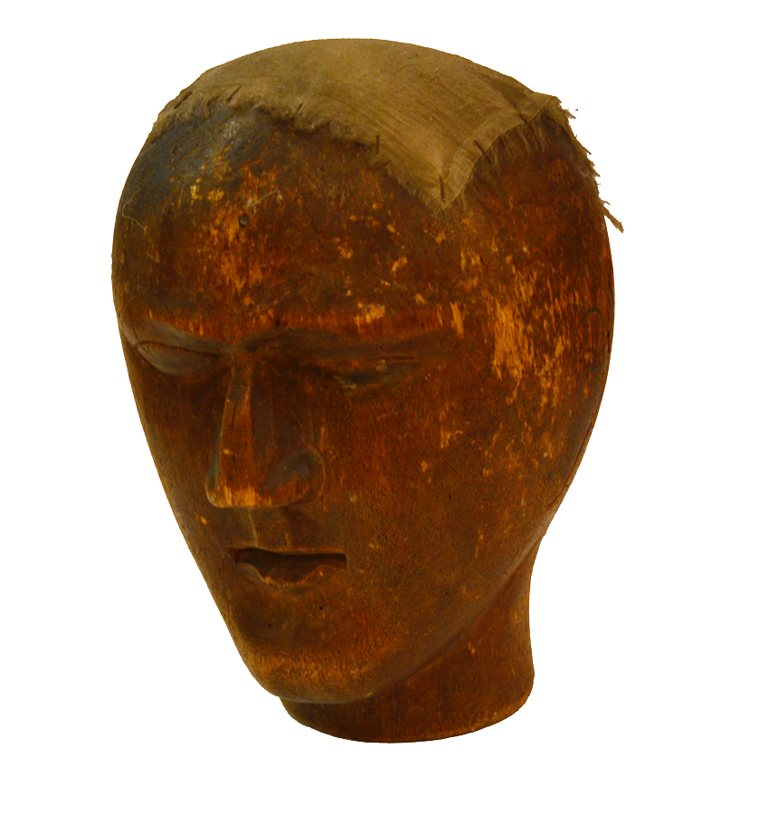 18th C. Rare Antique French Carved Wood Head Block-
