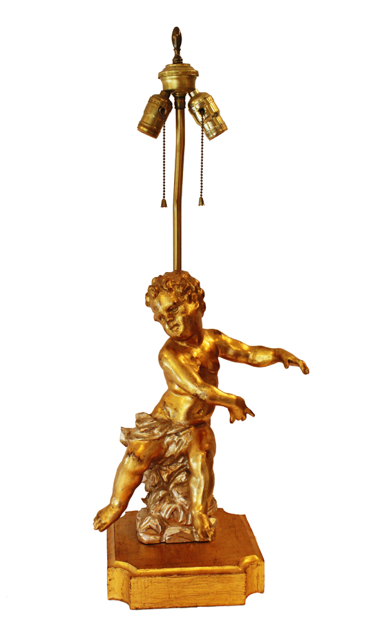 Antique Italian Carved Gilt Wood Cherub Lamp-