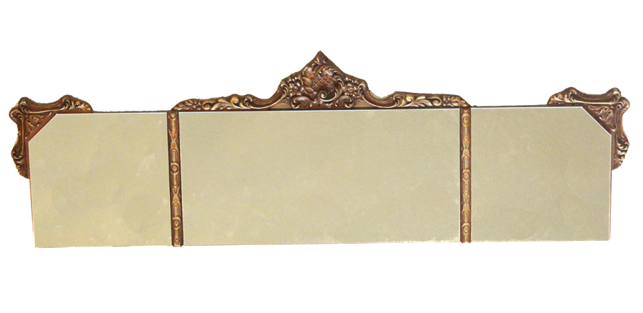 French Antique Carved Wood Tri-Mirror
