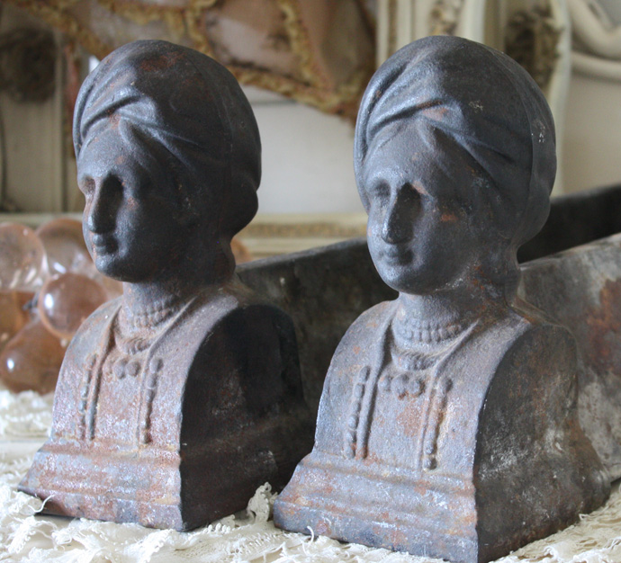 Pair 1800s French Figural Andirons Gorgeous-