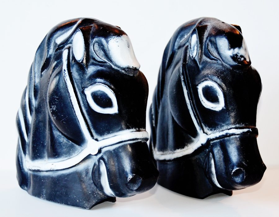 Rare Pair Amusement Park Cast Iron Horse Head/Bookends