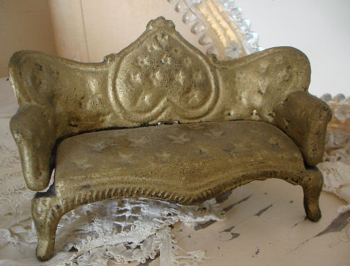 Antique French Cast Iron Display Minature Sofa