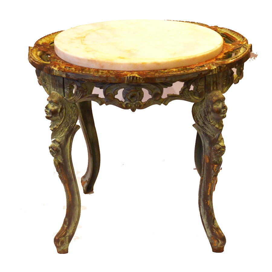 Incredible Pair French Cast Iron & Marble Figural Tables Beautiful Patina-