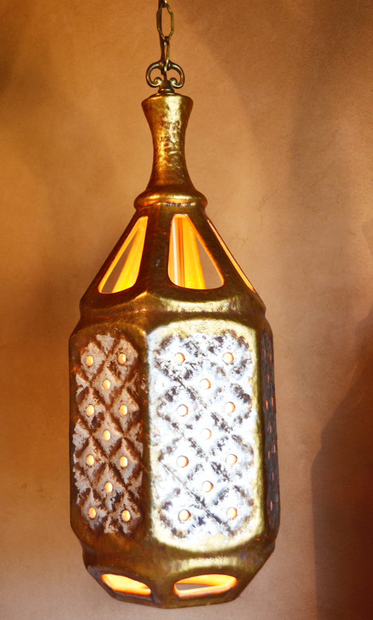 Vintage Italian Gilt & Cream Hanging Pendant Lamp