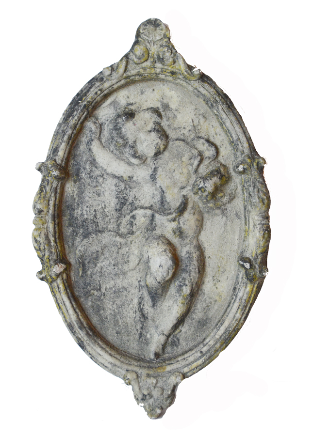 French Antique Architectural Cherub Wall Plaque-