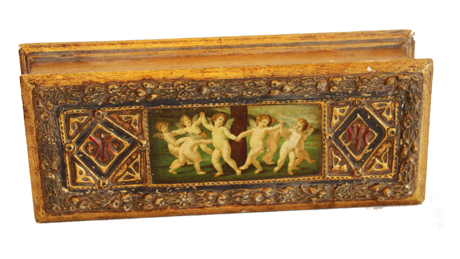 Italian Barbola & Puttie Cherubs Dresser Box 1920