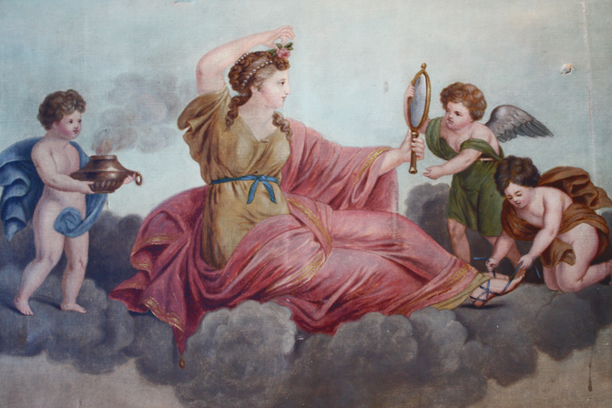 Victorian Oil Painting Goddess w/ Cherubs Late 1800s