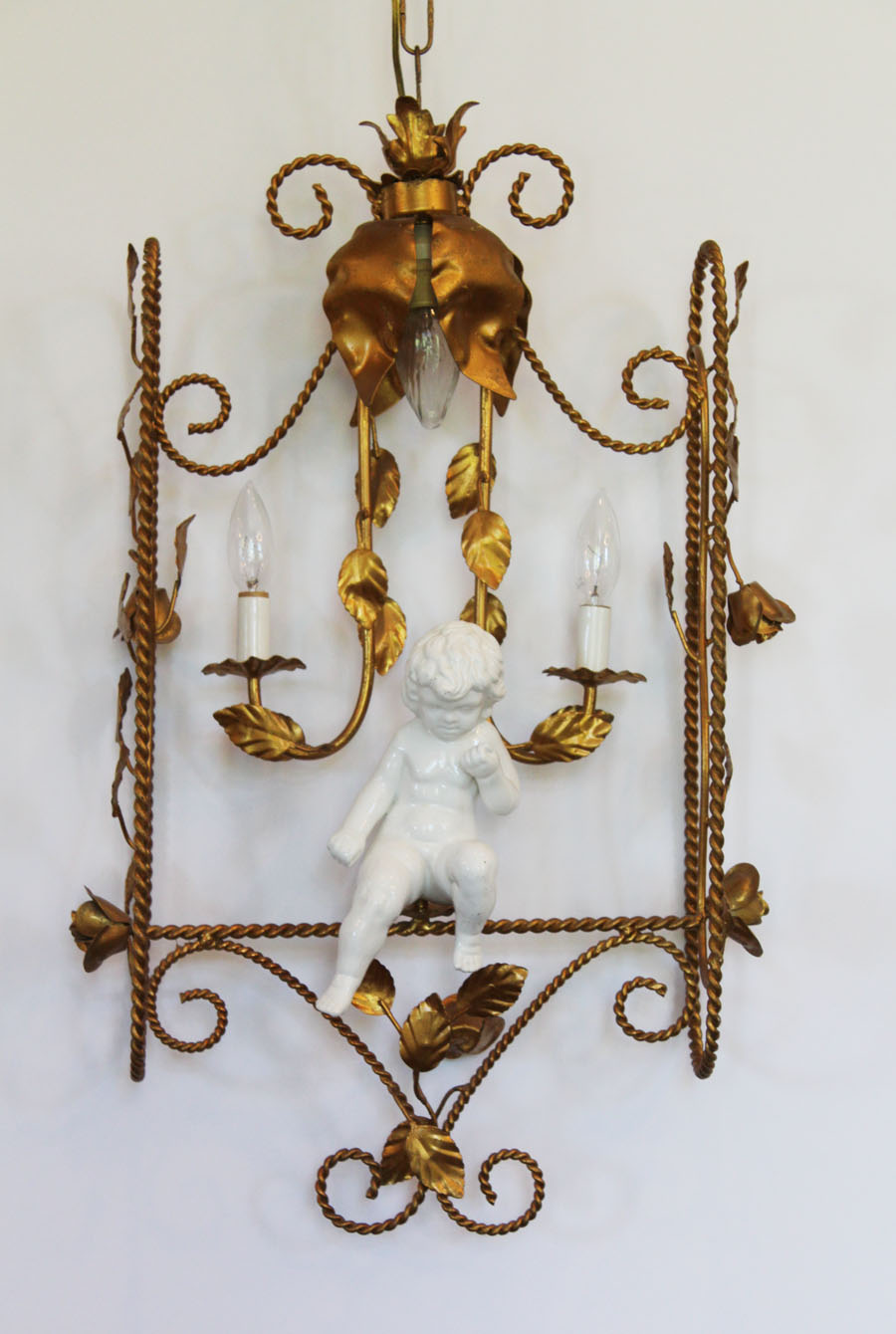 Italian Tole Porcelain Cherub in Swing Chandelier