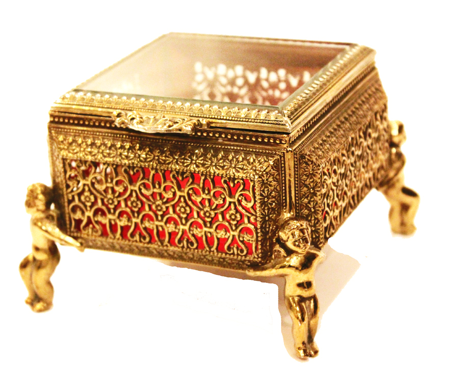 Antique Cherub Putti Beveled Crystal Jewel Box