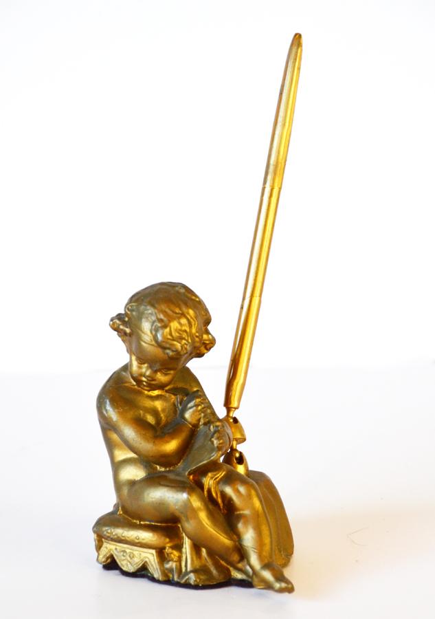 Vintage Gilt Gold Pen Stand & Pen Figural