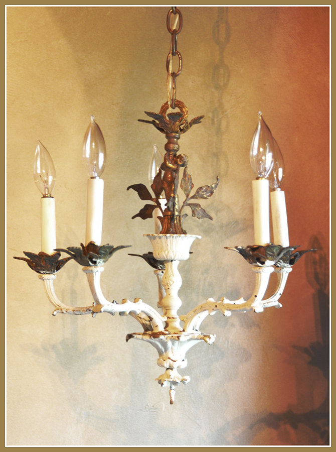 Antique Gilt & Cream French Figural Chandelier-