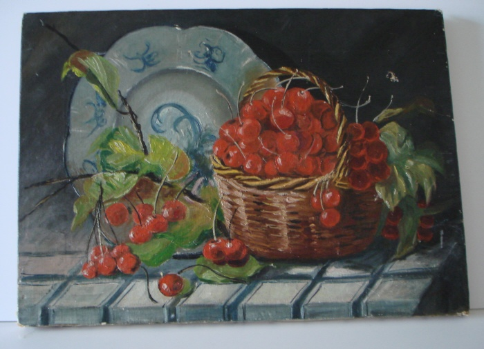 Antique CHERRIES OIL PAINTING Gorgeous FRENCH COTTAGE