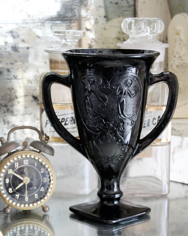 Wonderful & Rare Etched 1933 Black Glass Trophy Loving Cup-