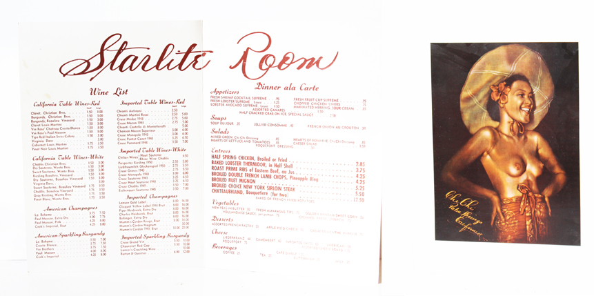 Starlite Room Original Menu-Chi Chi- Antique Ephemera-