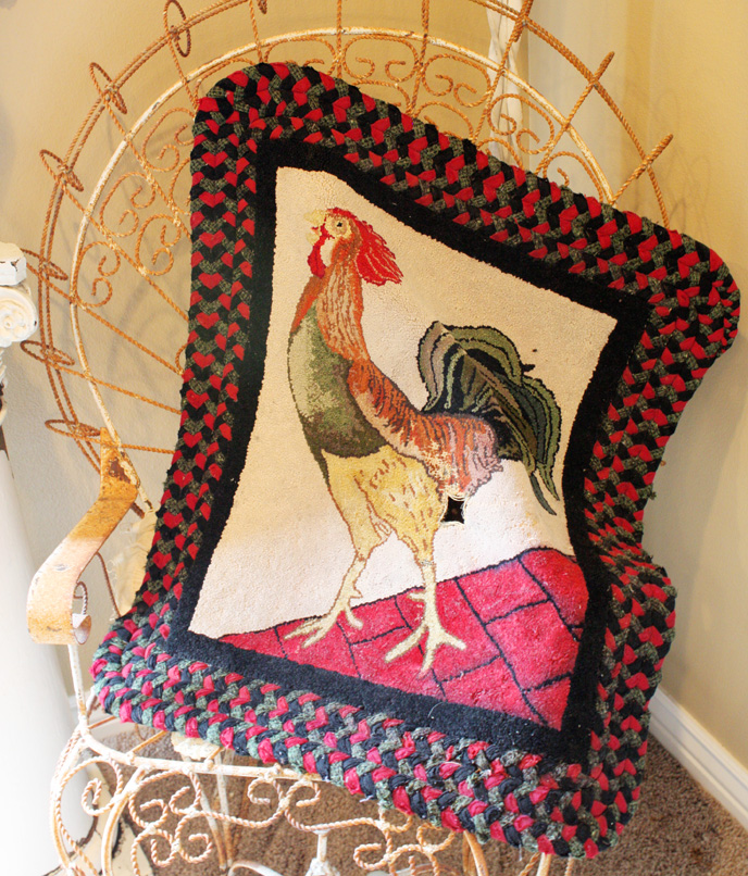 Antique Hooked Rug French Country Chicken  Folk Art