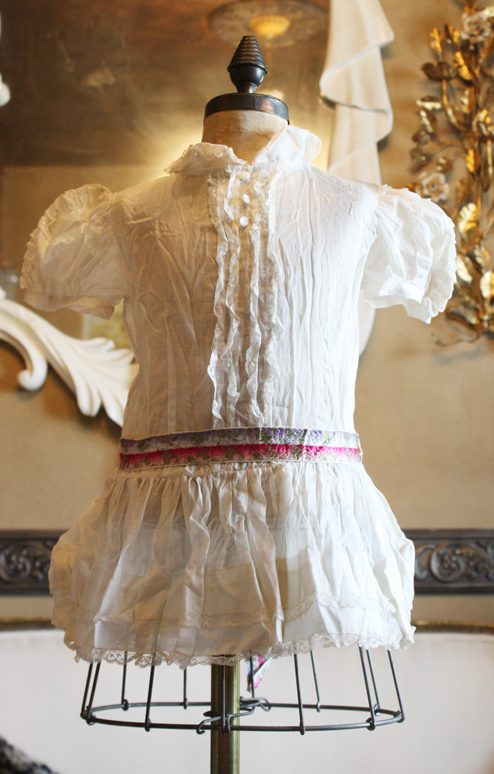 French Childs Cotton & Lace Dress Beautiful