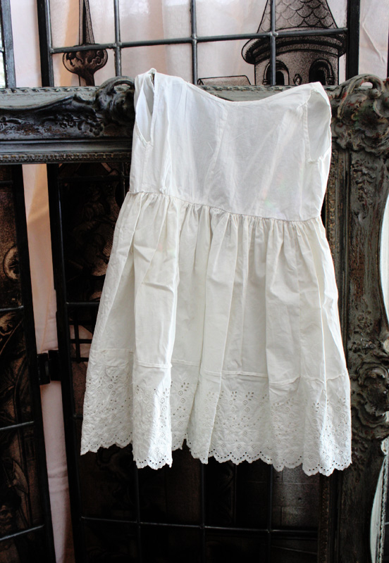 French Cotton Childs Dress Eyelet Trim Lovely Early 1900s-