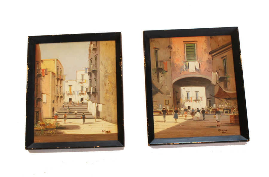 "Pair Antique Italian Listed Artist ""Ciappa"" Oil Paintings"