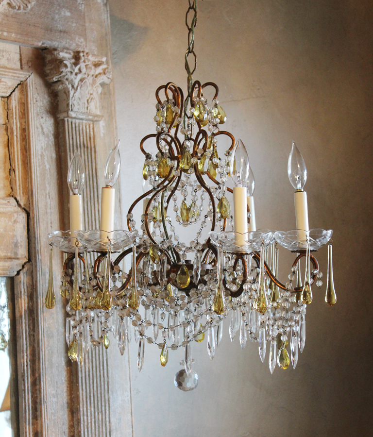 Antique Italian Beaded Birdcage Chandelier Rare Prisms-
