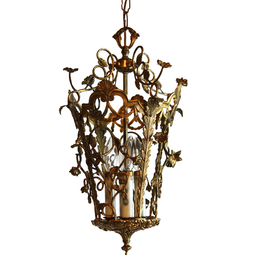 Antique European Bronze Climbing Flower Vines Lantern Chandelier