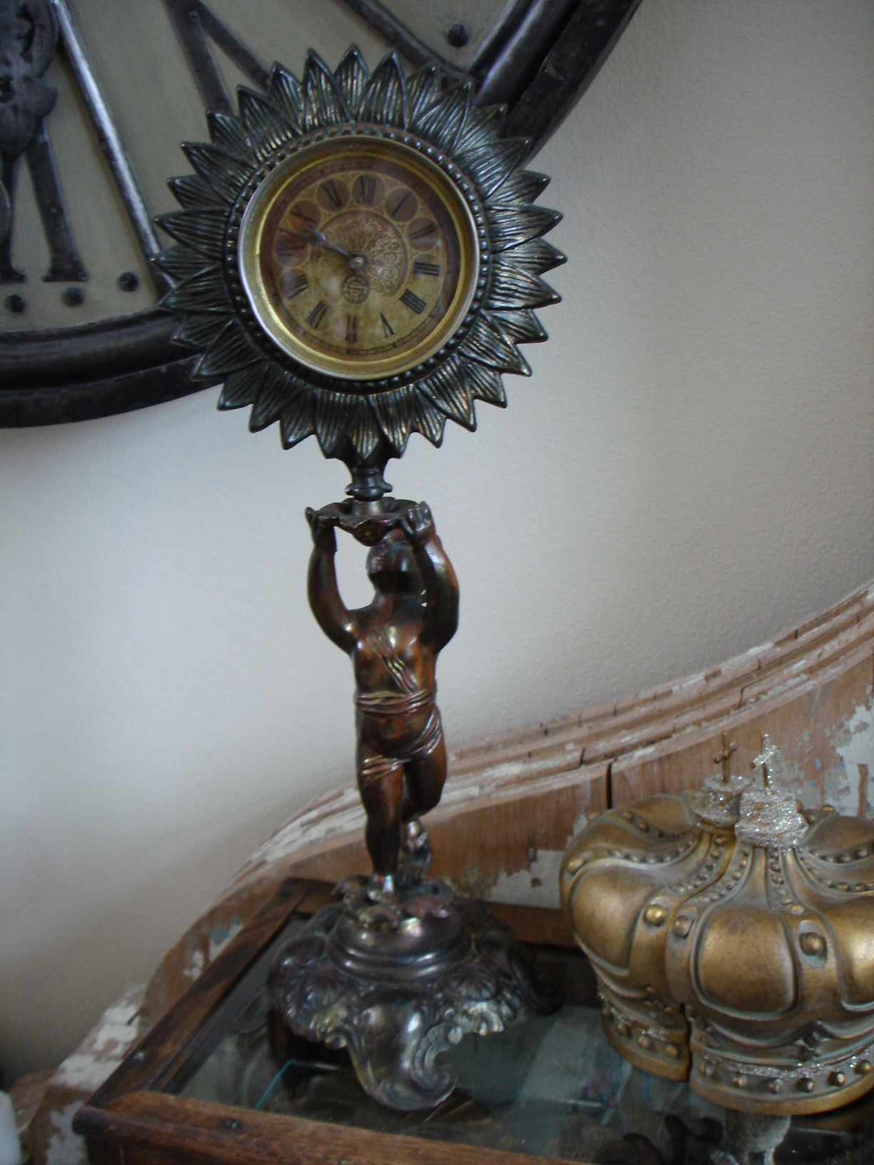 Antique 1885 Figural Cherub Bronze Mantle Clock-