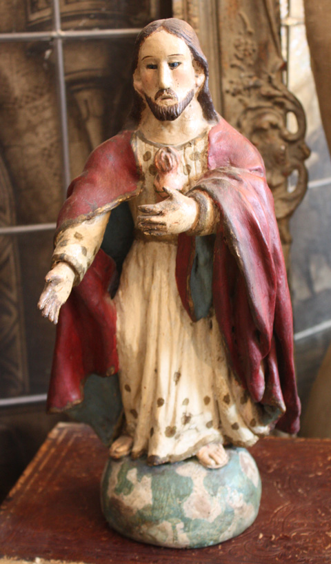 Jesus of Sacred Heart 19th C. Glass Eyes Santos-
