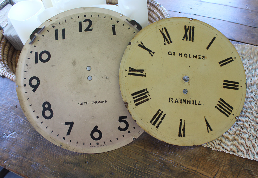 Set of Two Antique Clock Faces Wall Decor