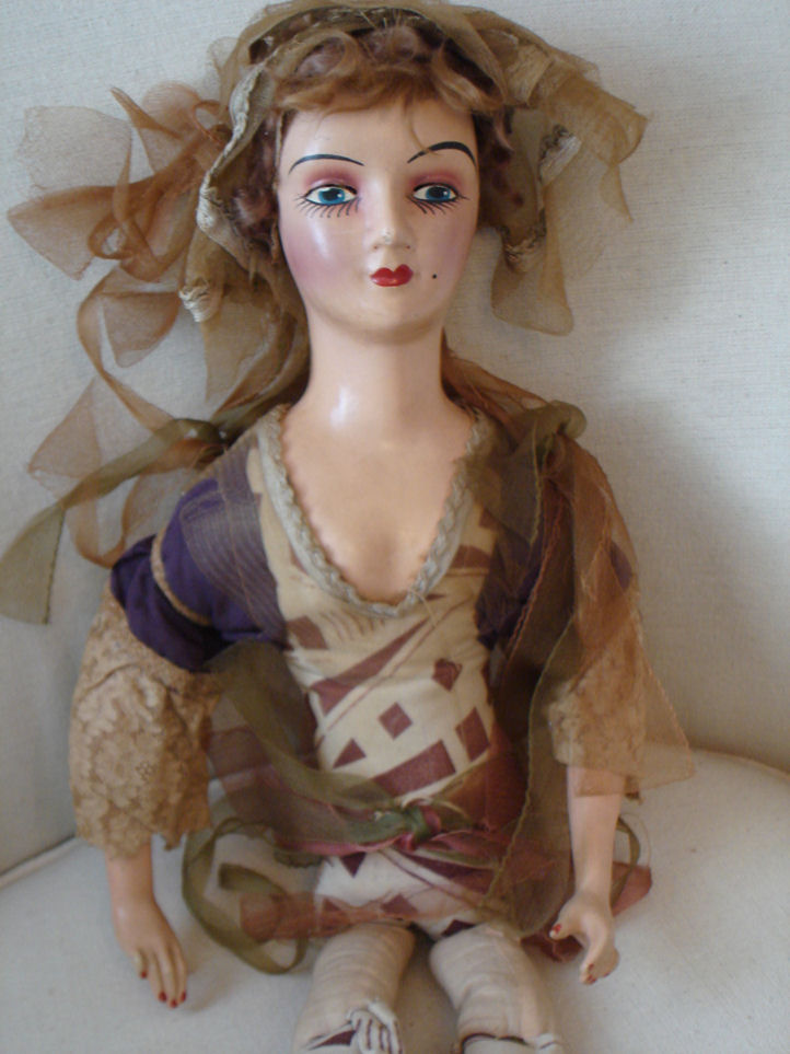 Whimsy Antique French Boudoir Doll Gorgeous Details