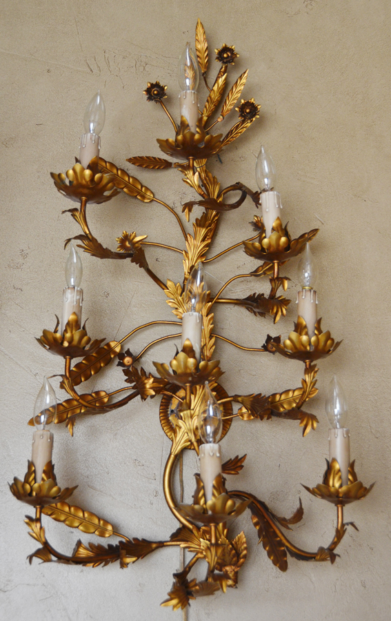 Antique Italian Tole Electric Wall Chandelier/Sconces