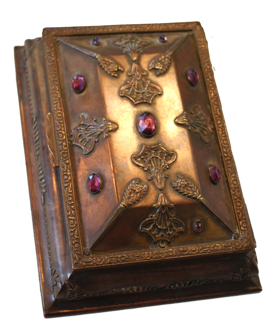Antique Jeweled Copper Casket Jewelry Box