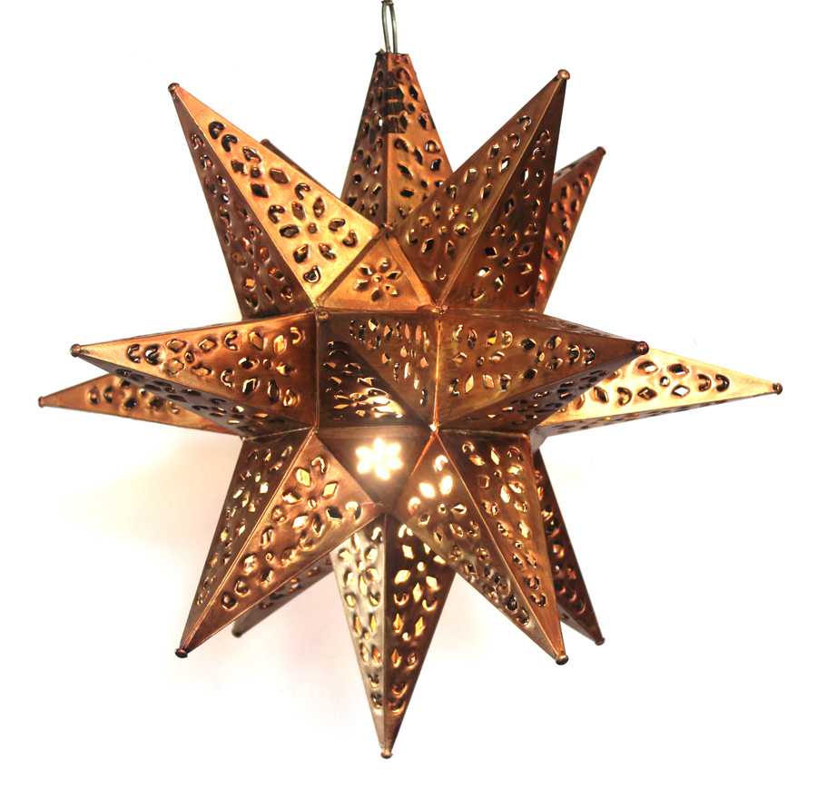 Vintage Cut Copper Lighted Star Pendant Light