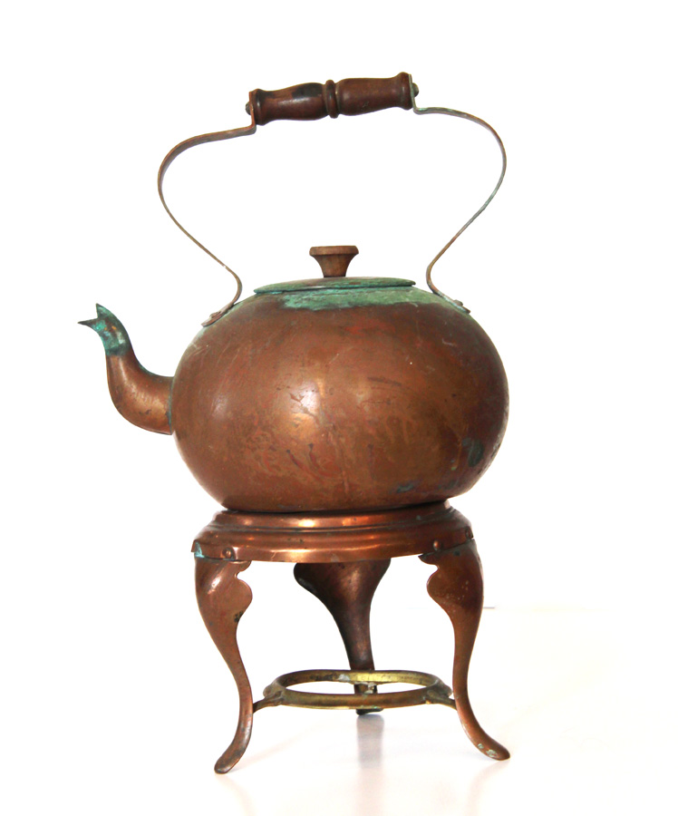 Antique Copper Tea Kettle w/Warmer