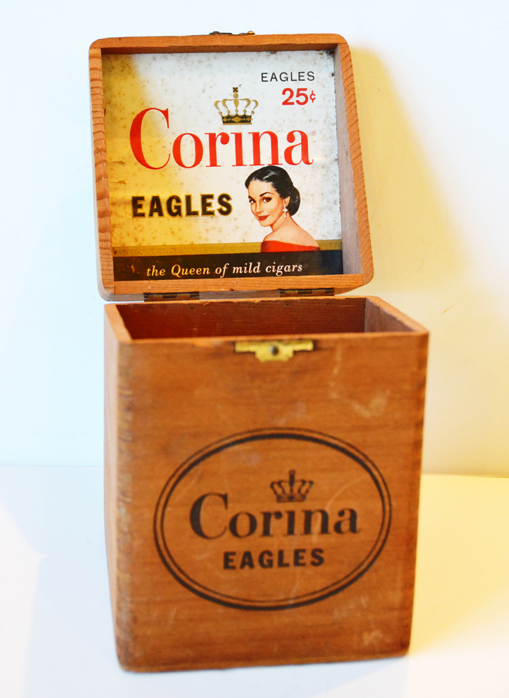 Antique Corina Wood Cigar Box Dovetailed Rare