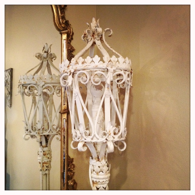 1800s French Wrought Iron Lantern Incredible-