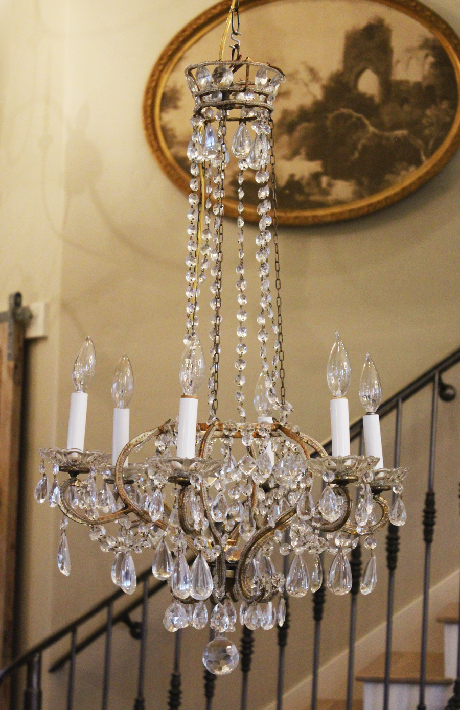 Best Ever! Antique Italian Beaded Crown Xlrg Chandelier