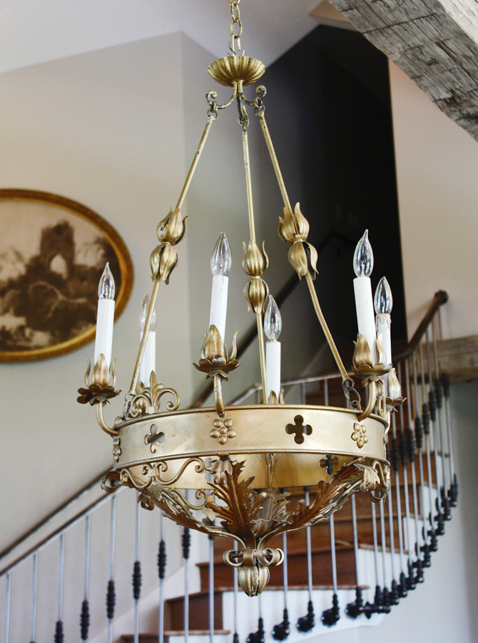Antique Italian Tole Gilt Crown Shaped Chandelier Beautiful