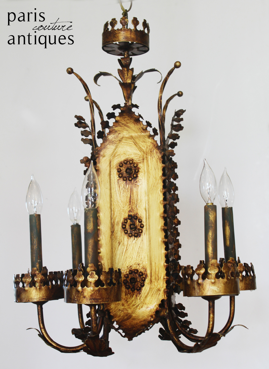 Rare Italian Tole Crown Shaped Gilt Metal Chandelier