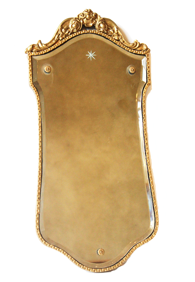 Antique French Gilt Carved Etched Mirror-