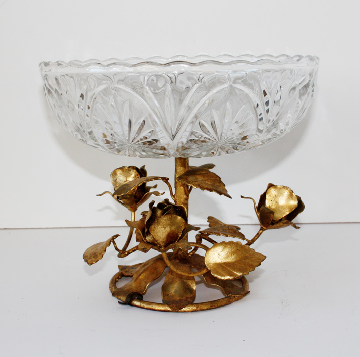 Antique Italian Tole Cut Glass Compote/Bowl