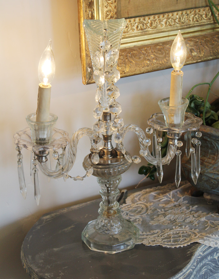 Antique Art Deco Crystal Candelabra Girandole Table Chandelier-antique, lighting, chandelier, wall sconces, beaded, French, vintage, shabby chic, beaded sconce, Italian, pendant, European, sconce, girandole, crystal