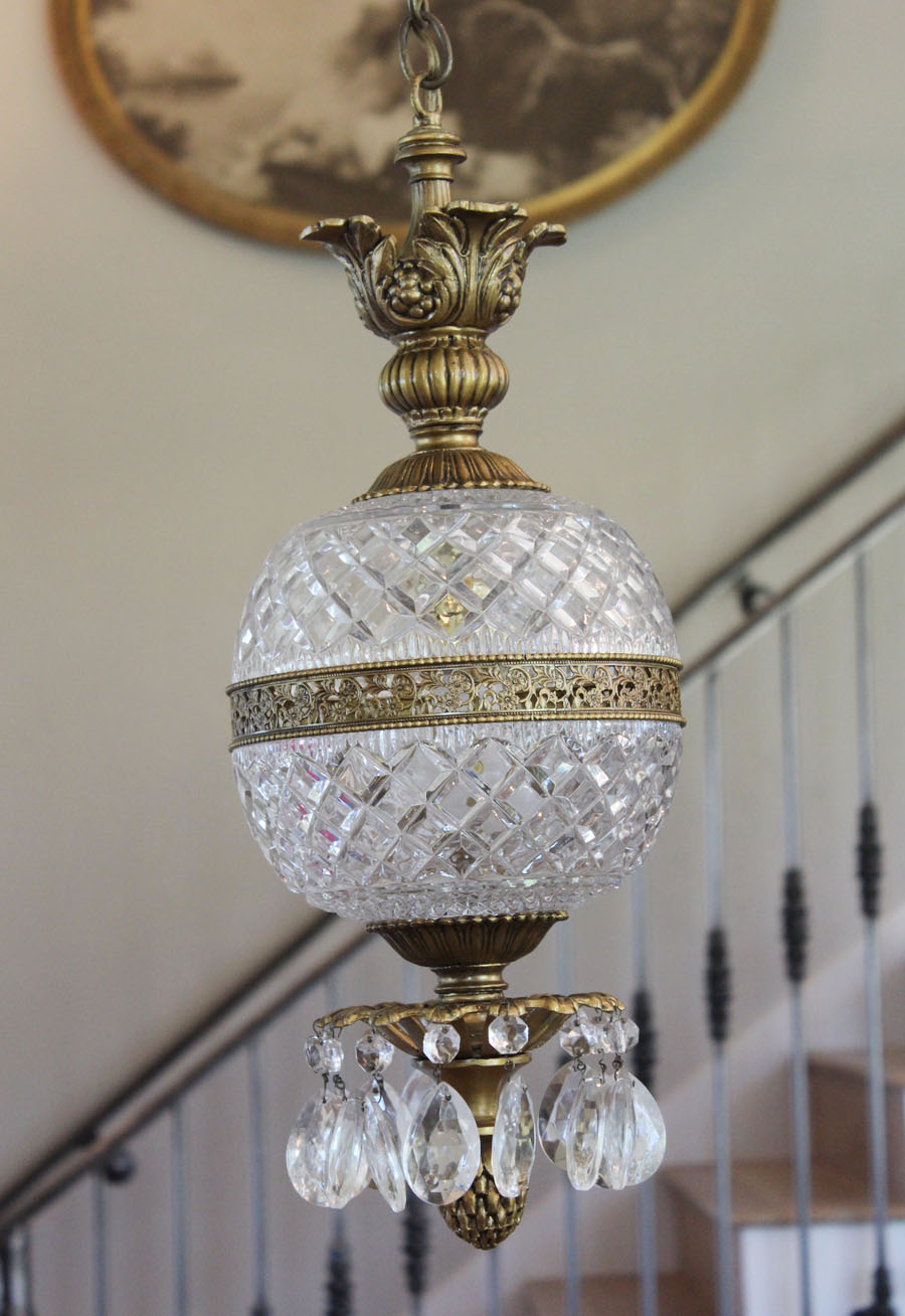 Antique French Cut Crystal Globe Hanging Lantern Chandelier