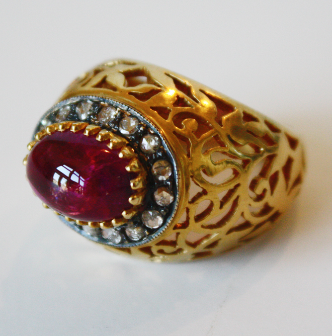 Tourmaline & Diamonds Antique Carved Gold Ring-