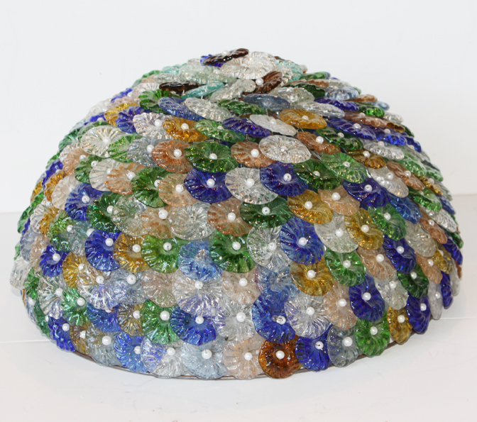Vintage Colorful Czech Blown Glass Florettes Beaded Dome-