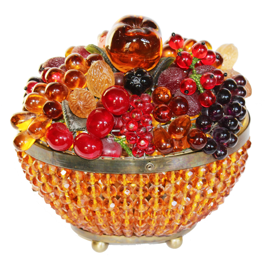 1900s Rare Czechoslovakia Beaded Fruit Lamp-