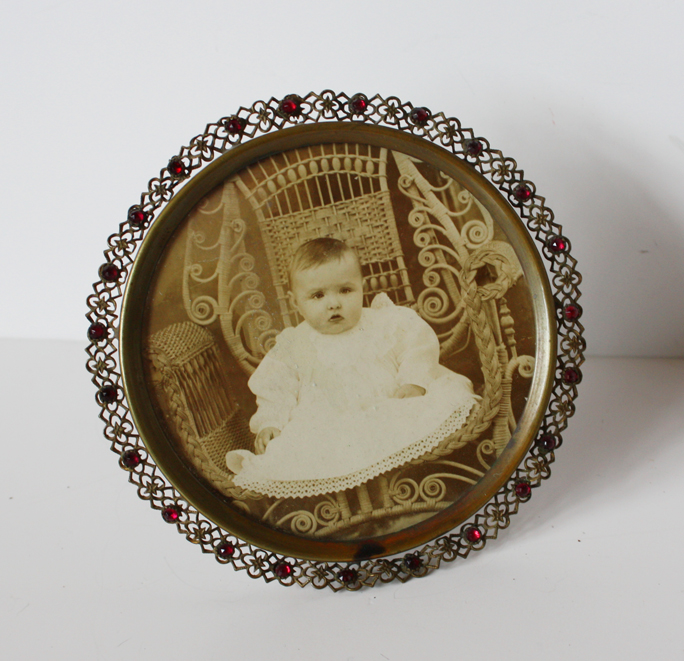 Czech Victorian Jeweled Wire Work Picture Frame Breathtaking-