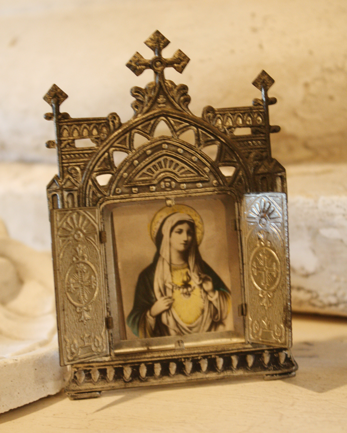 Antique Czech Shrine Picture Frame Madonna
