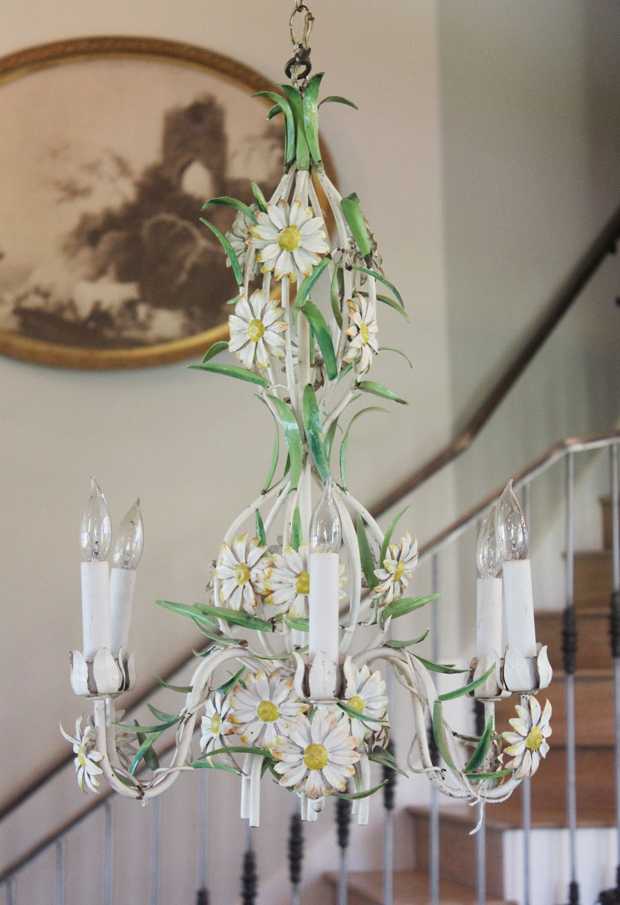 Italian Tole Antique Daisy Chandelier From Italy