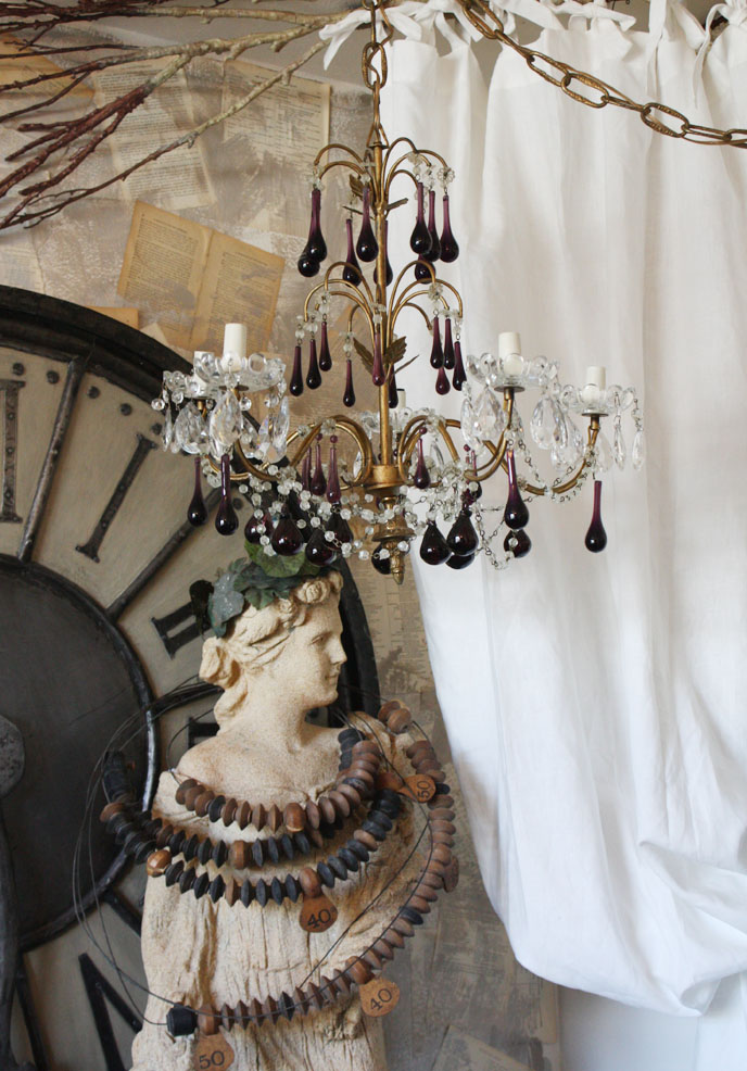 Antique Italian Beaded Chandelier Stunning Colored Prisms-